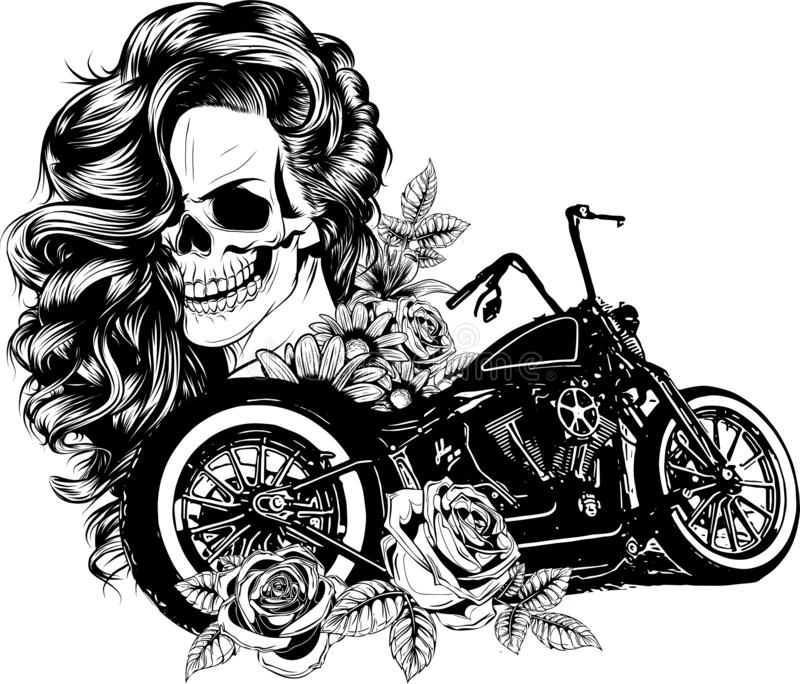 Girl with skeleton make up hand drawn vector sketch. Santa muerte woman witch portrait stock illustration. Day of the dead face art stock illustration
