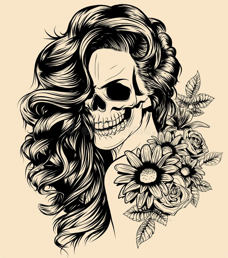 Girl with skeleton make up hand drawn vector sketch. Santa muerte woman witch portrait stock illustration. Day of the dead face art royalty free illustration