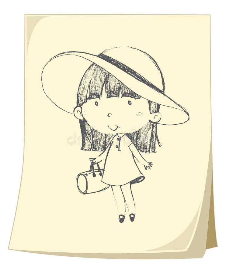 Download Girl sketched on paper stock vector. Image of smile, texture - 24660770
