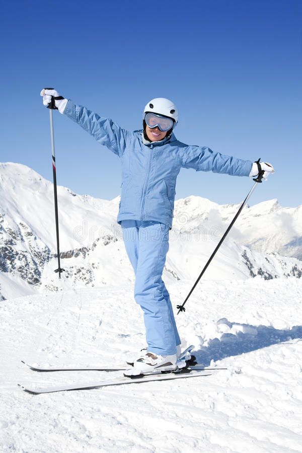Girl with ski stock photos