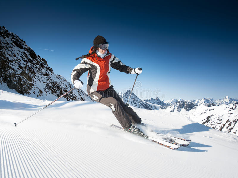 Girl On the Ski. At sunny day royalty free stock photo