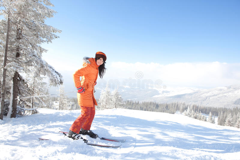 Download Girl With Ski In The Winter Landscape Stock Photo - Image: 13093466