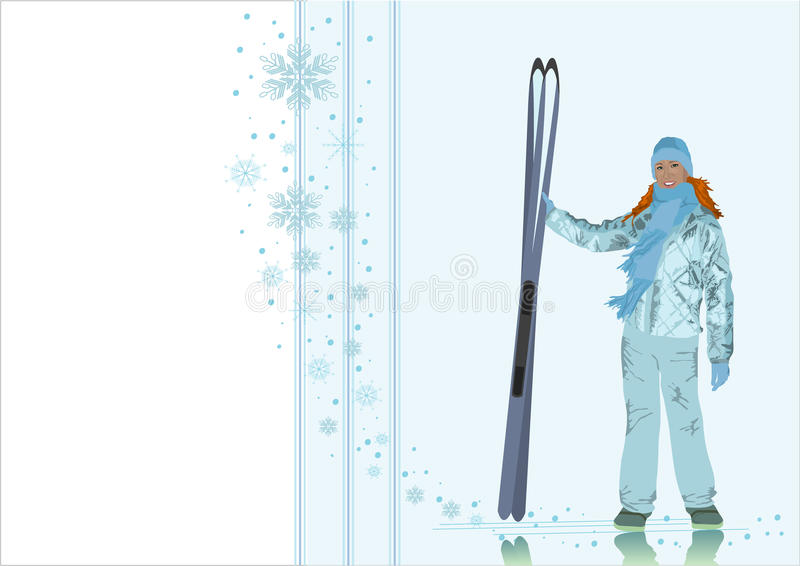 The girl-skier on a winter background stock illustration