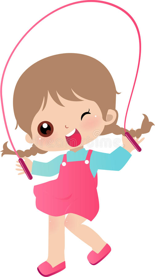 Download Girl Skipping stock vector. Illustration of little, exercise - 10813085