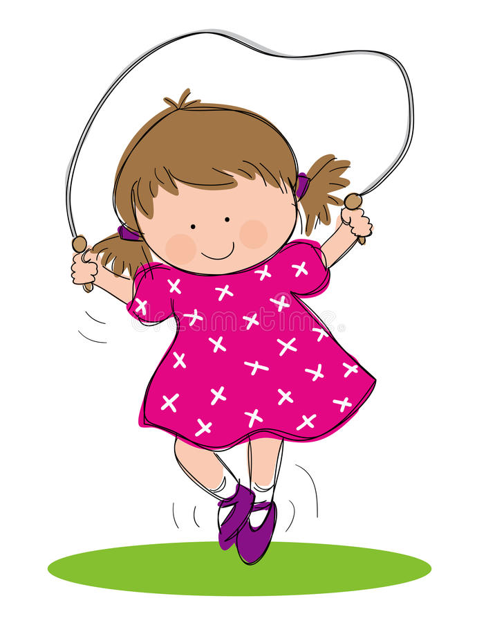Girl Skipping. Hand drawn picture of little girl skipping, illustrated in a loose style. Vector eps available stock illustration