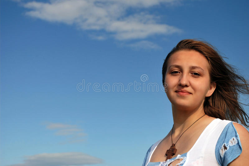 Download Girl and sky stock image. Image of wind, hairs, girl - 10409473