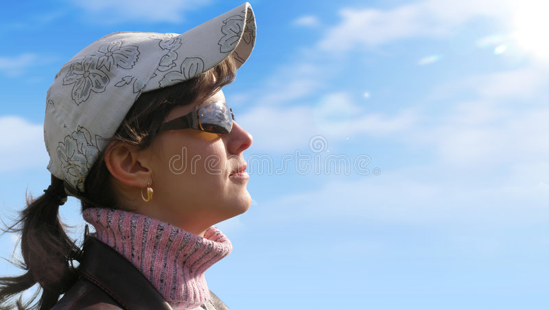 Download Girl on a sky background stock photo. Image of flower - 3189112