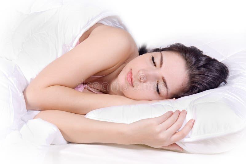Girl sleep on bed royalty free stock photo