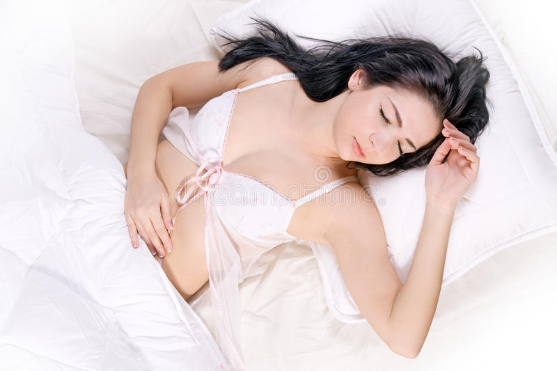 Download Girl sleep on bed stock photo. Image of caucasian, cute - 21339576