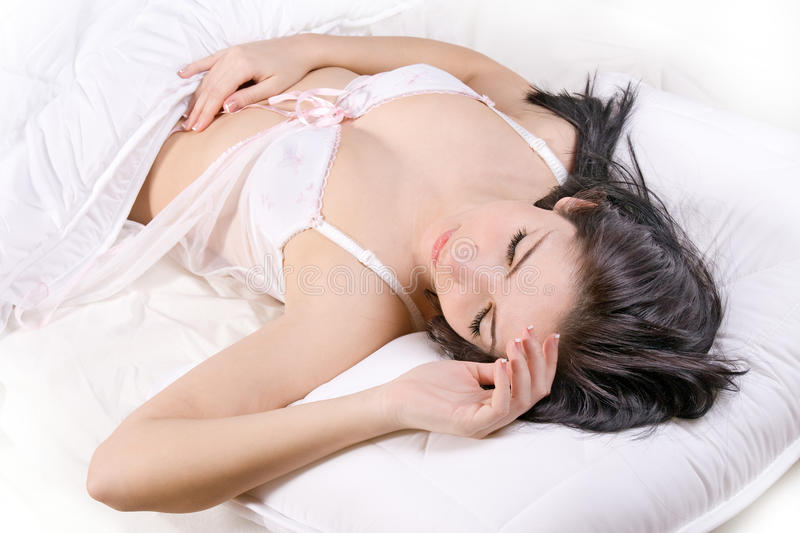 Download Girl sleep in bed stock photo. Image of pretty, cushion - 22799036