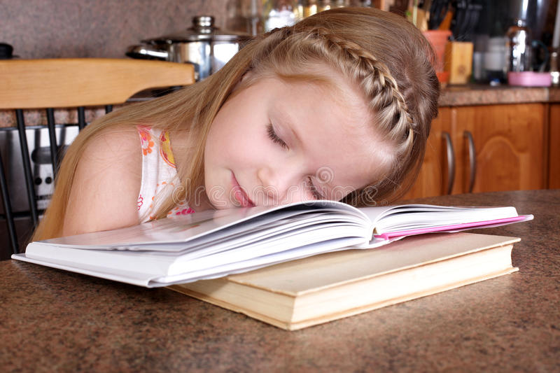 Download Girl sleep at books stock image. Image of pensive, cute - 18138855
