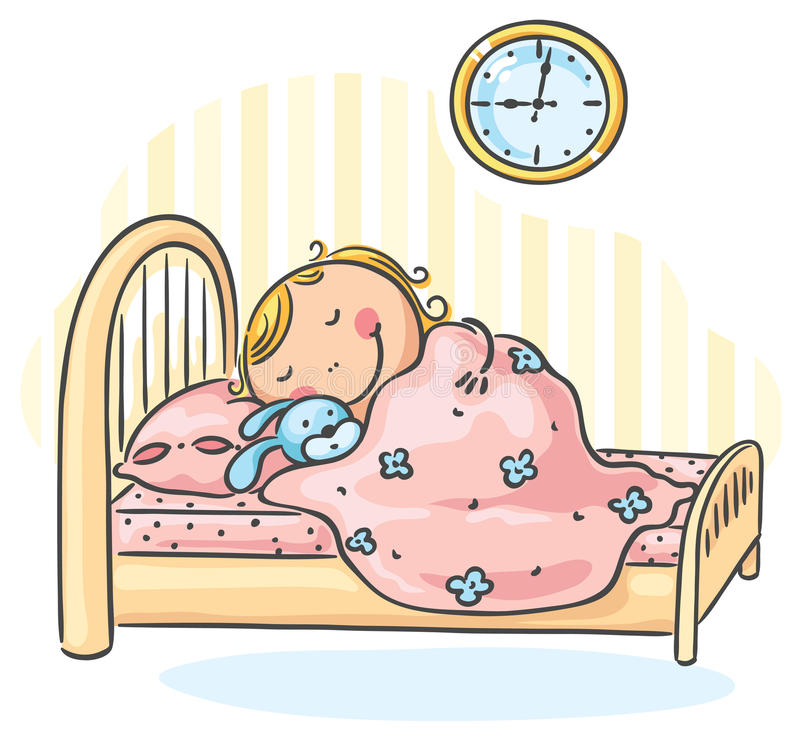 Girl sleepeng in her bed royalty free illustration
