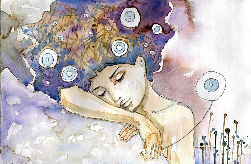 Download Girl sleeping stock illustration. Image of face, picturesque - 23965542