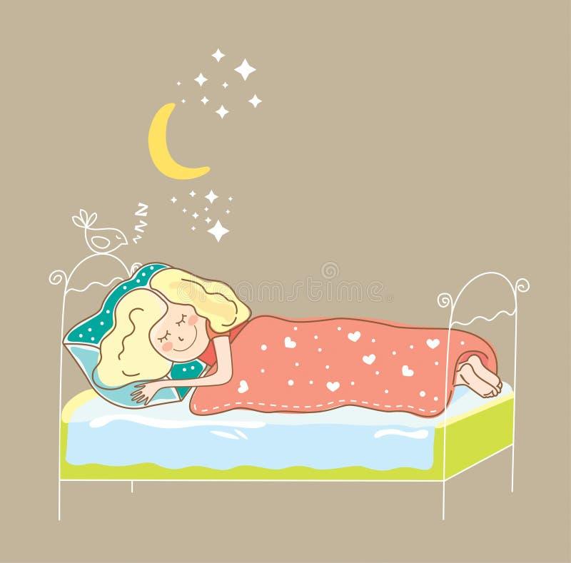 Girl sleeping royalty free illustration