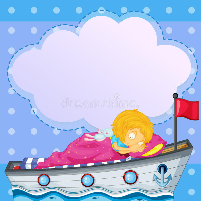 A girl sleeping above the boat vector illustration