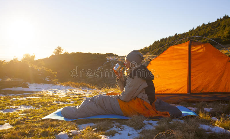 Girl in a sleeping bag. royalty free stock photo