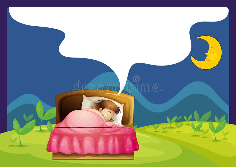 A girl sleeping in a bed stock illustration