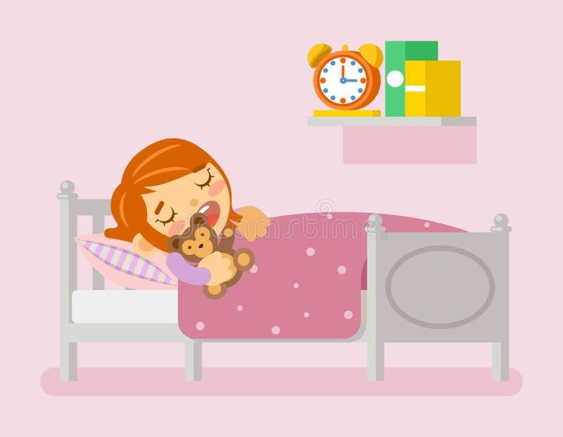 Girl sleeping in the bed. Vector illustration flat stock illustration