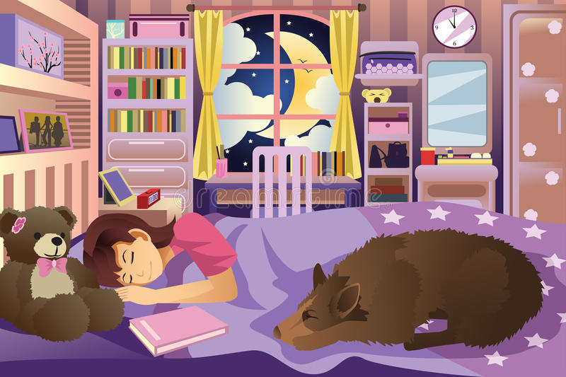 Girl Sleeping in Her Room With Her Dog royalty free illustration
