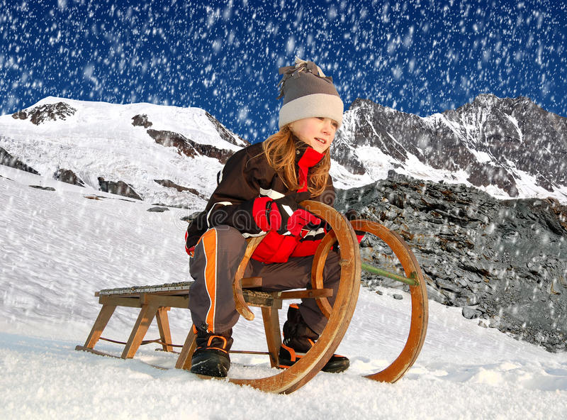 Download Girl on a sleigh stock photo. Image of freeze, rocky - 28533138