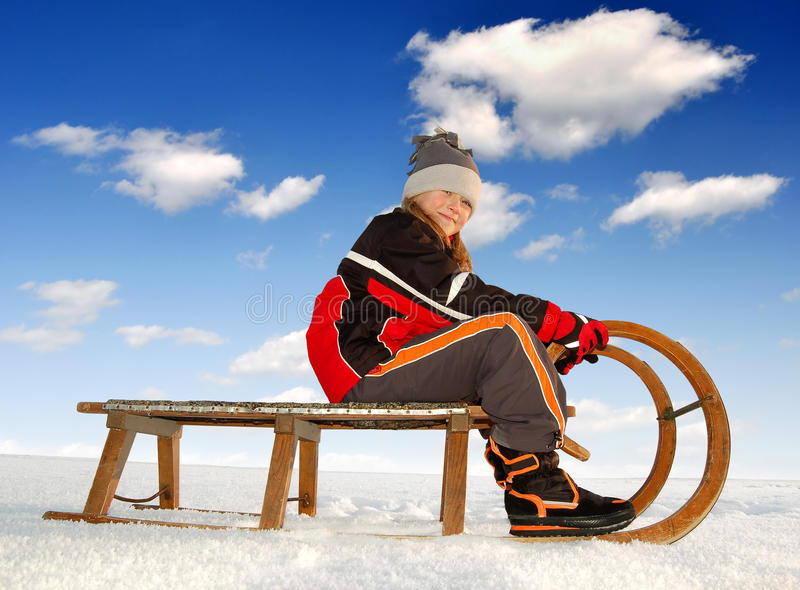 Download Girl on a sleigh stock photo. Image of challenge, cold - 28533150