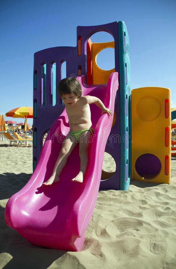 Download Girl on slide stock photo. Image of outdoor, playing - 15925696