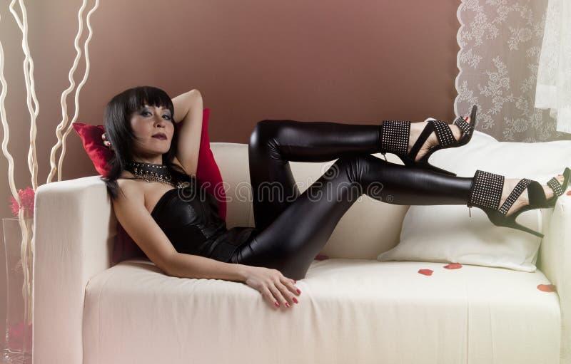 Download Girl in a slinky black stock image. Image of hands, feminine - 23825317