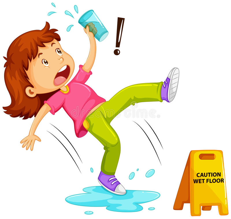 Free Girl Slipping On Wet Floor Stock Photography - 85258452