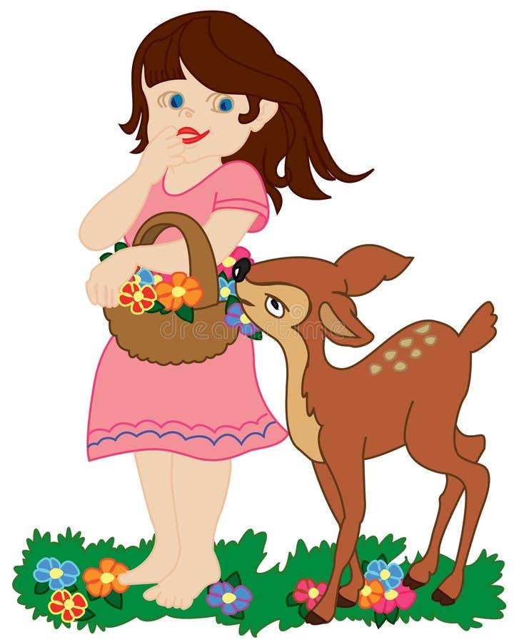 Girl and small deer
