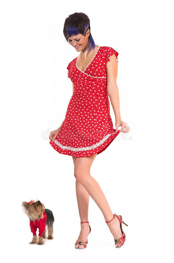 Download The  Girl And Small Dog Stock Image - Image: 4899951