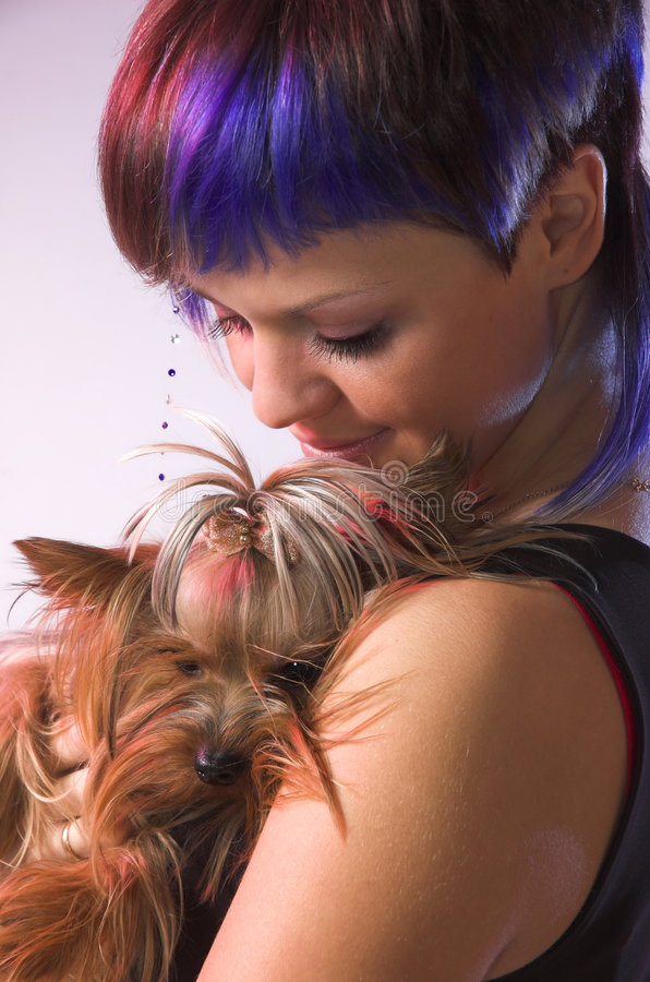 Download The  girl and small dog stock image. Image of clothing - 6303935