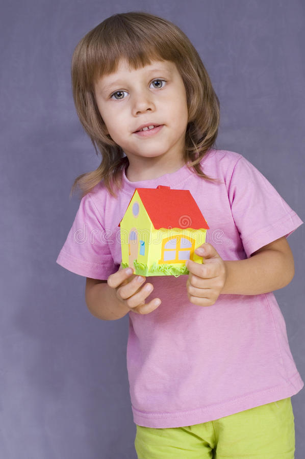 Download The Girl With A Small House Stock Photo - Image: 16316152