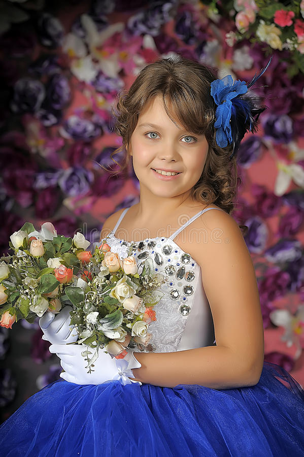 Girl In A Smart Blue And White Ball Gown Stock Image Image Of Flowers Bouquet 39656289