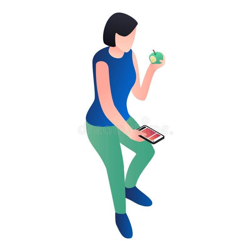 Girl with smartphone eat apple icon, isometric style stock illustration