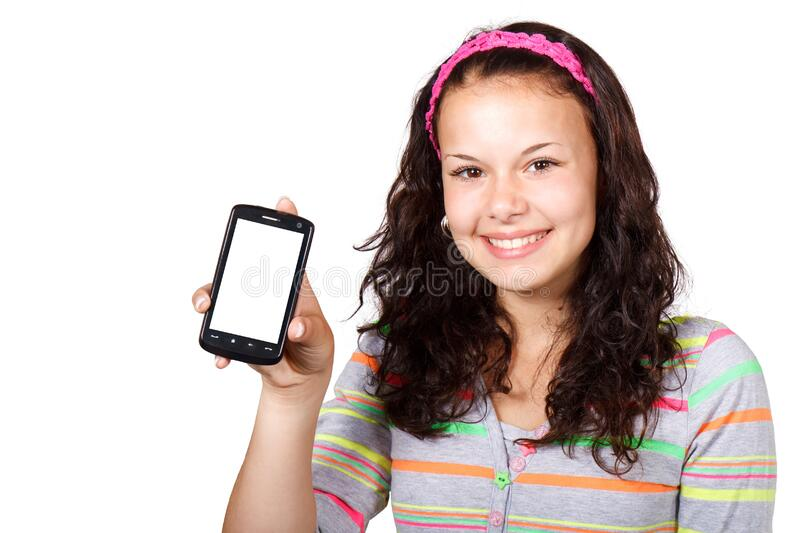 Girl with smartphone royalty free stock photo