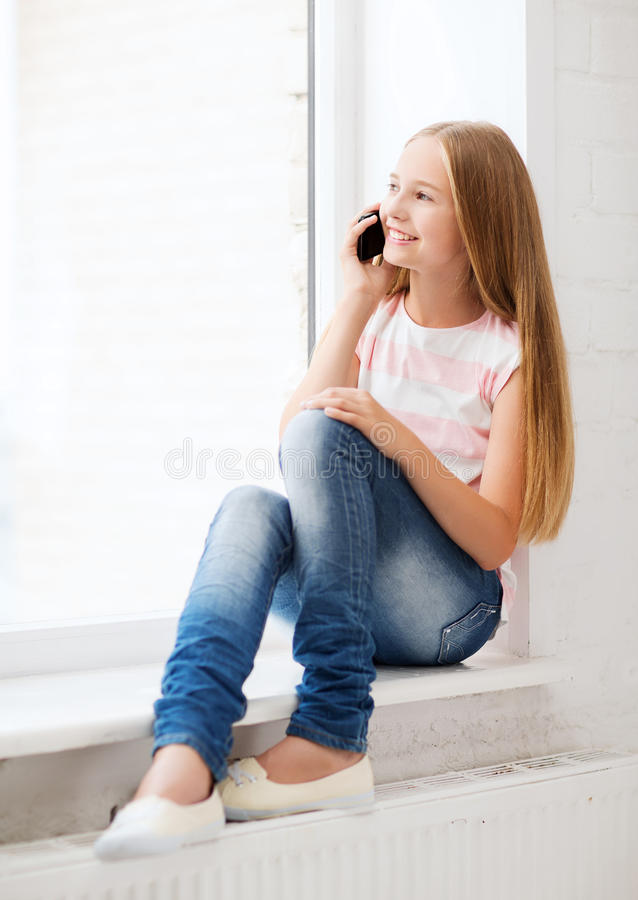 Download Girl With Smartphone At School Stock Photo - Image: 34953040