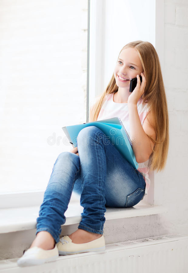Download Girl With Smartphone At School Stock Photo - Image: 34953054