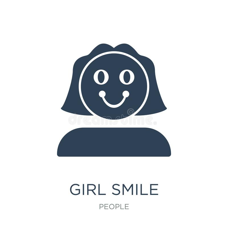 girl smile icon in trendy design style. girl smile icon isolated on white background. girl smile vector icon simple and modern royalty free illustration
