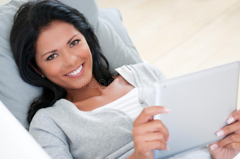 Download Girl smile with tablet stock photo. Image of smile, internet - 27471888