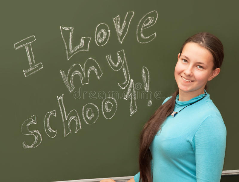 The girl smiles at the English class. Girl schoolgirl meets an English lesson on the background of the school boards stock images