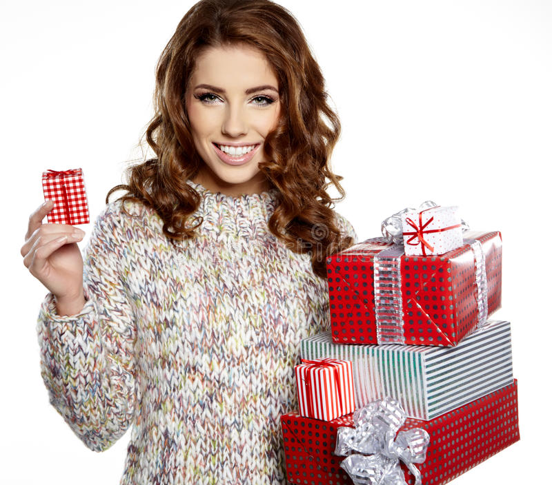 Download Girl Smiles And Holding A Gift In Magic Packing Stock Image - Image of magic, surprise: 27886817