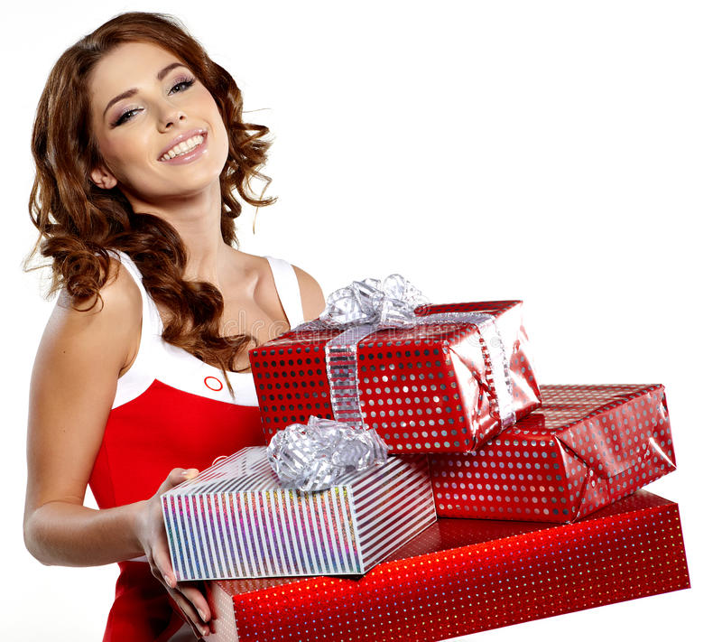 Download Girl Smiles And Holding A Gift In Magic Packing Stock Image - Image of friendship, holding: 27886865