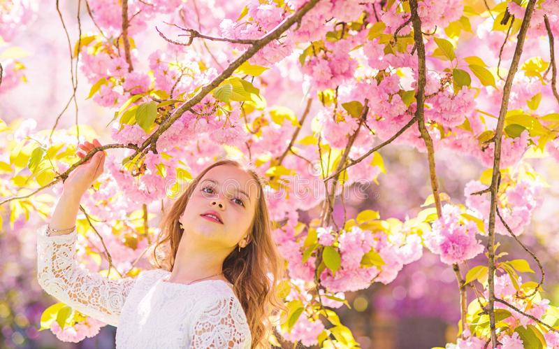 Girl on smiling face standing near sakura flowers, defocused. Girl with long hair outdoor, cherry blossom on background. Sweet childhood concept. Cute child stock images