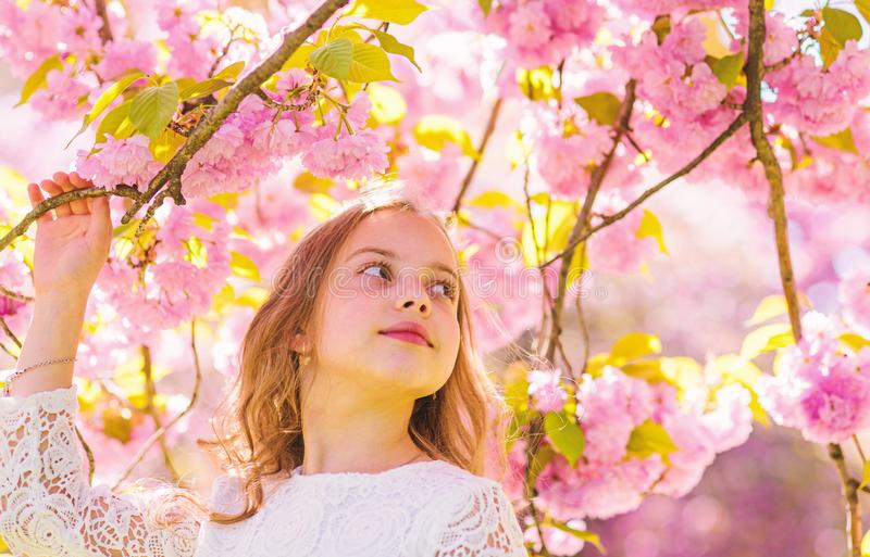 Girl on smiling face standing near sakura flowers, defocused. Sweet childhood concept. Girl with long hair outdoor. Cherry blossom on background. Cute child stock image