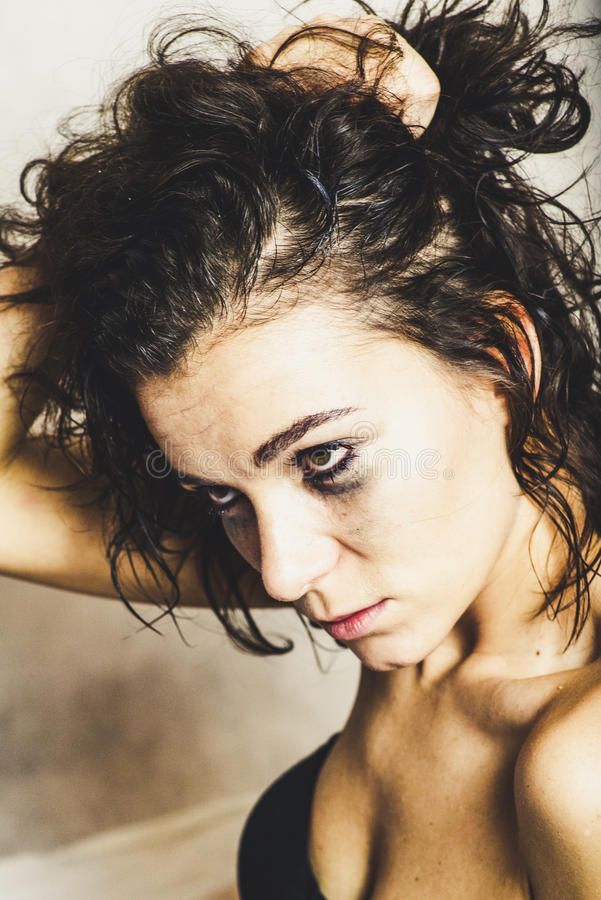 Girl with smudged make up royalty free stock photography