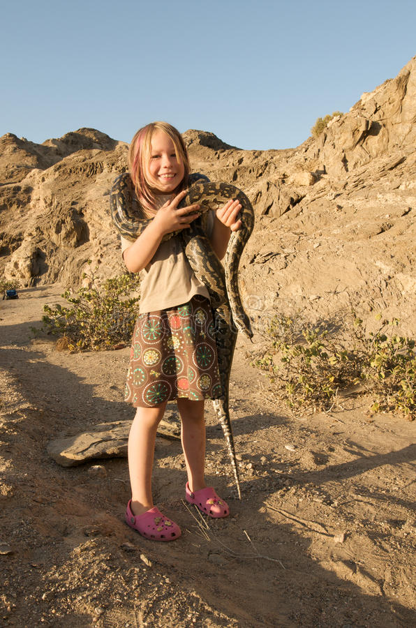 Download Girl with snake stock photo. Image of young, python, constrictor - 13860102