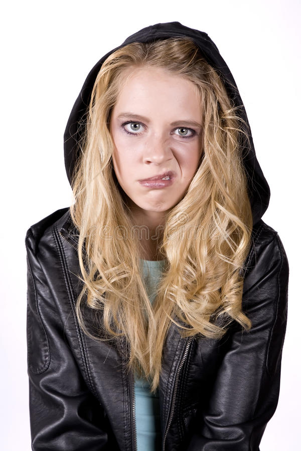 Girl with snarl royalty free stock images