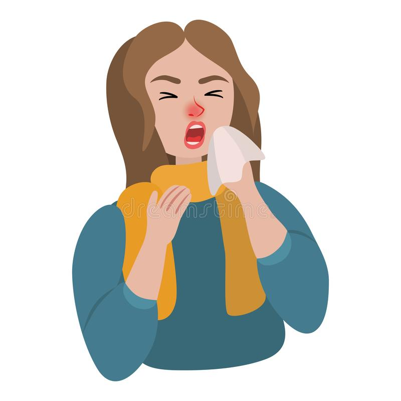 Girl sneezes into a scarf sick. Girl sneezes into a scarf in a sweater vector illustration