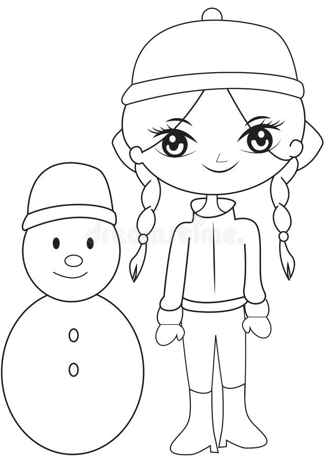 Girl With A Snowman Coloring Page Stock Illustration - Illustration ...