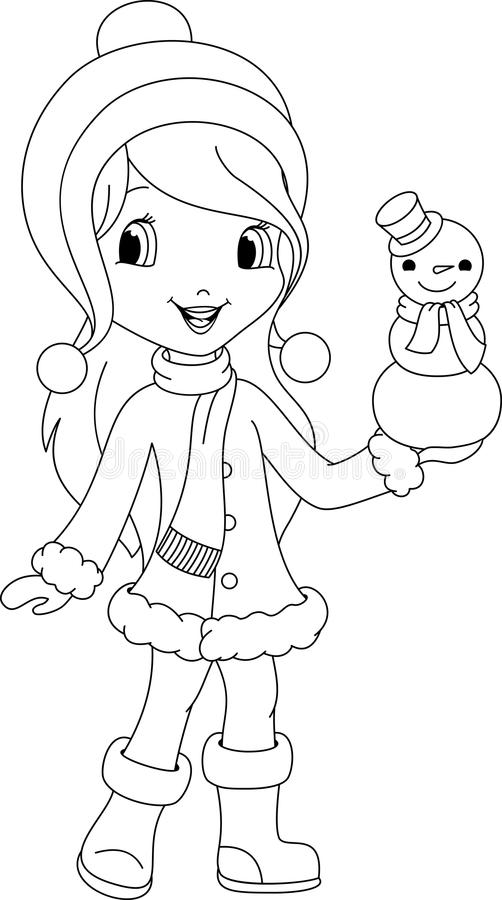 Girl And Snowman Coloring Page Stock Vector Image 42365086